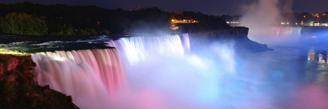 bright Illuminated lights shined at the water falls