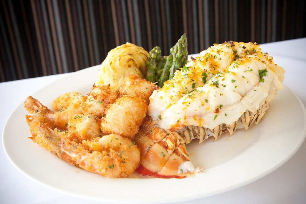 Skylon lunch Lobster and fried shrimps