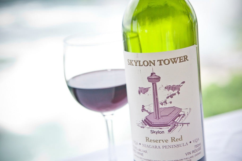 Skylon Tower Red Wine bottle with filled glass