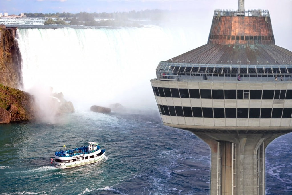 Boat, Skylon Tower, and Niagara Falls