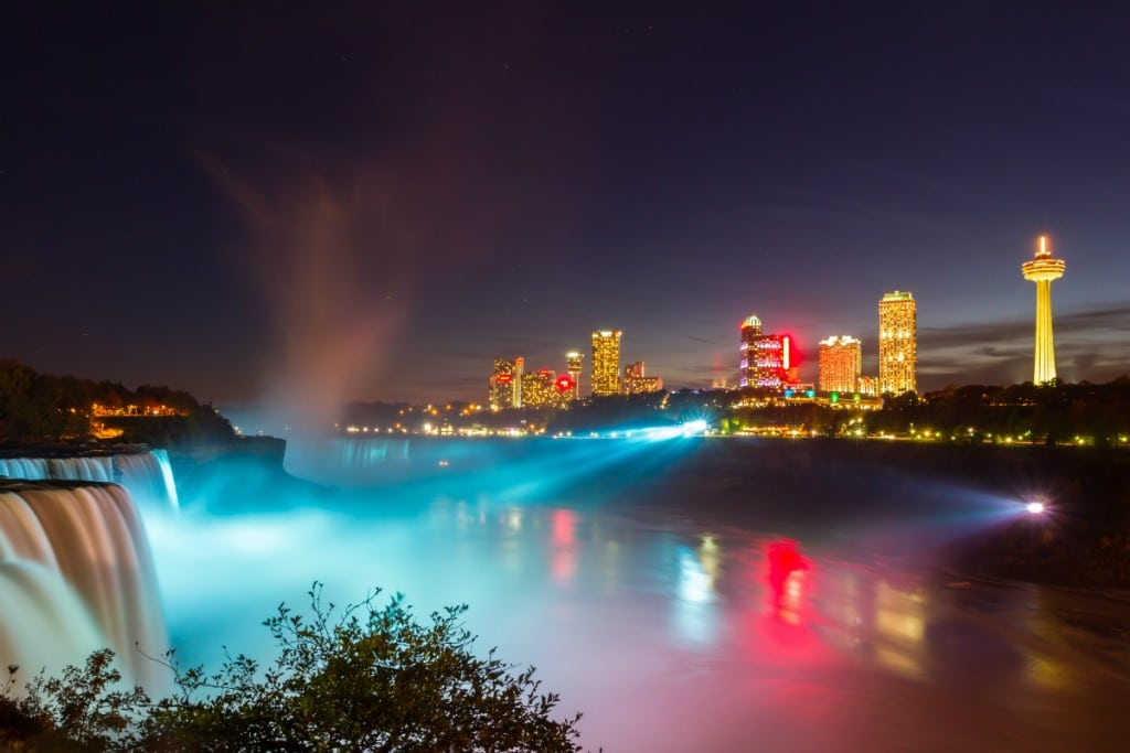 City lights at night of Niagara Falls
